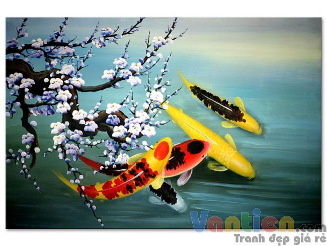 Cá Chép Dưới Bóng Hoa Đào M1585