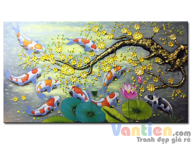 Đàn Cá Chép Dưới Bóng Hoa Mai M2146