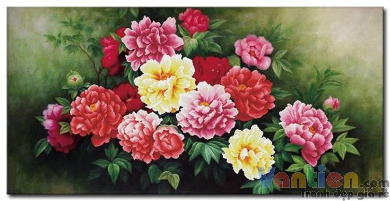 tranh son dau hoa mau don