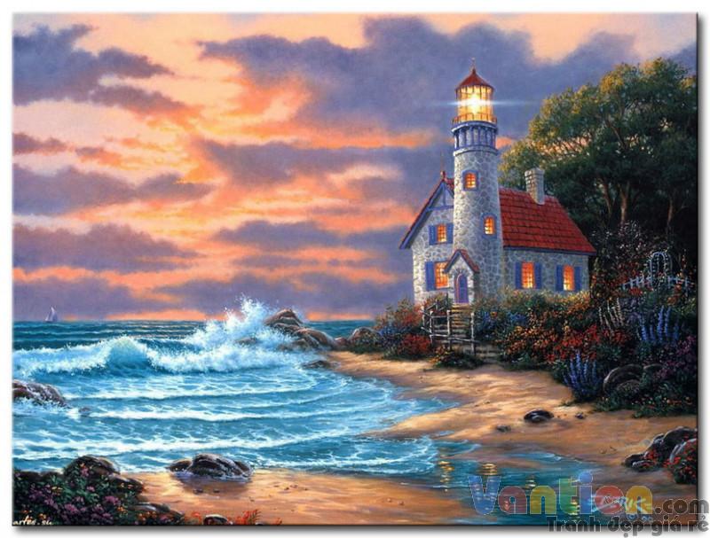 tranh sơn dầu ngọn hải đăng