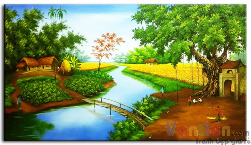 Tranh sơn dầu đồng quê, làng quê