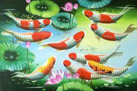 Bí quyết treo tranh sơn dầu cá chép đẹp