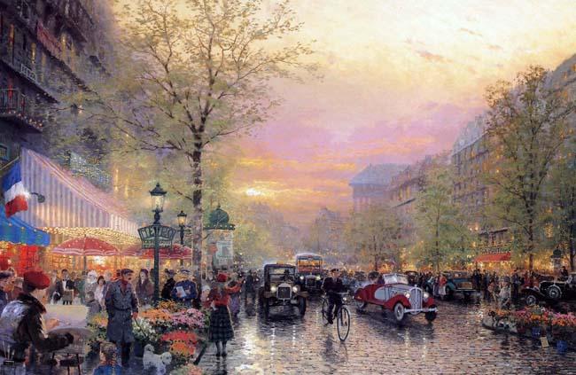 Bức sơn dầu của Thomas Kinkade với những nét vẽ tỉ mỉ đã diễn tả chân thực khung cảnh đường phố sau cơn mưa, sự tinh tế của ánh sáng trên bầu trời, trong cửa hiệu và trong từng ngôi nhà