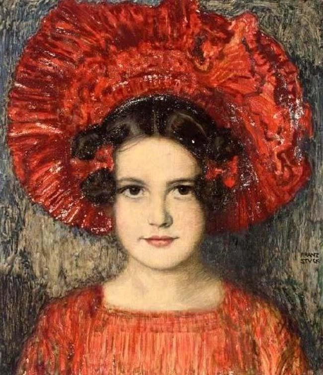 Bức vẽ con gái của Franz Von Stuck thể hiện rõ sự đối lập trong nét vẽ trên khuôn mặt với các chi tiết khác, làm nổi bật làn da mịn màng trẻ, những lọn tóc mềm mại trên những nếp gấp của áo và mũ