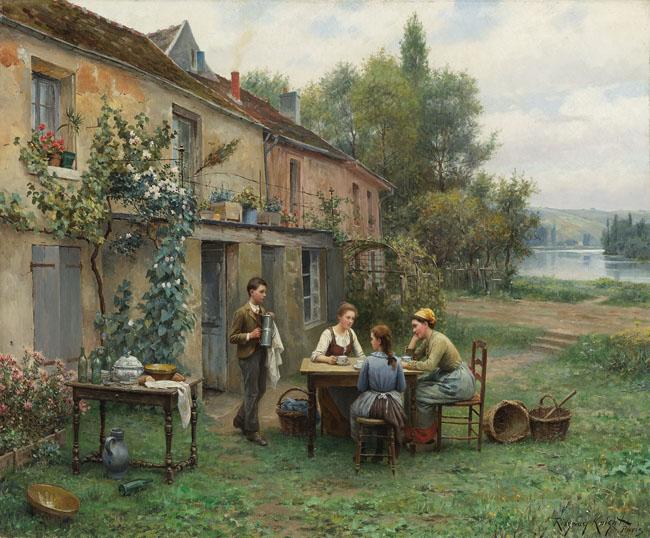 Bức tranh Cafe trong vườn (Daniel Ridgway Knight) đã tái hiện khung cảnh trong lành của buổi sáng thôn quê