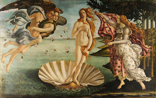 Bức tranh Sự ra đời của Thận Vệ nữ (Botticelli) với nét vẽ mềm mại, uyển chuyển