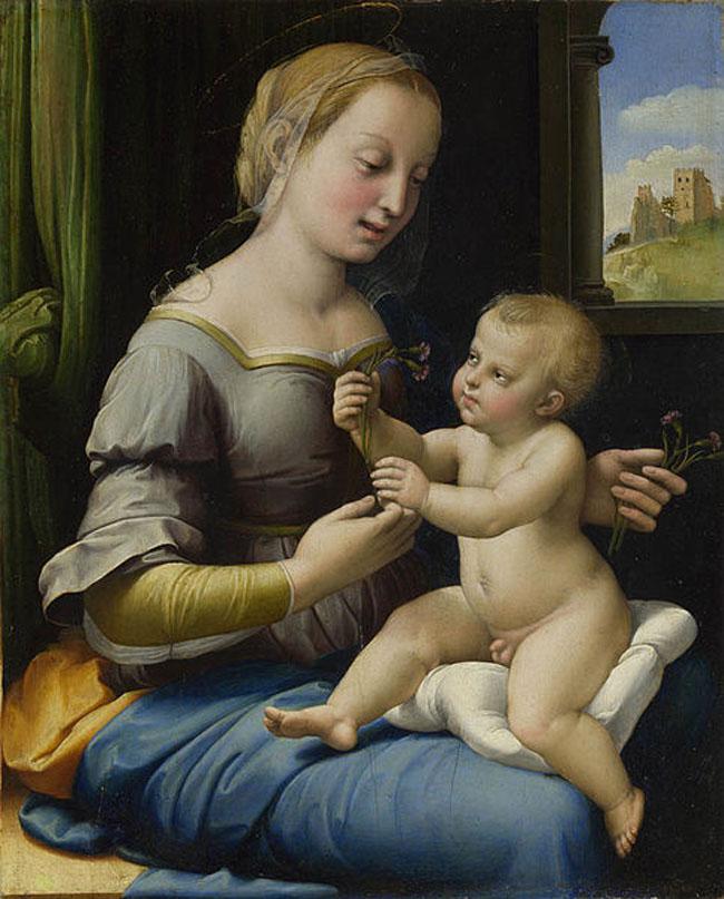 Bức tranh Đức Mẹ và hoa cẩm chướng (Raphael Santi) đã thể hiện chất da thịt, vải vóc một cách rất chân thực nhờ nét vẽ vo cùng tinh tế