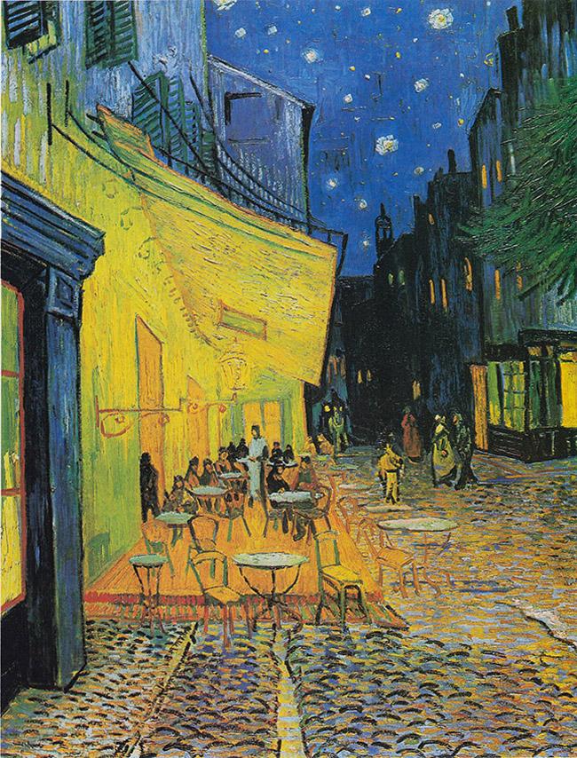Bức tranh Cafe về đêm trên vỉa hè khách sạn Forum (Vincent Vagogh) đã thể hiện những nhát cọ dứt khoát