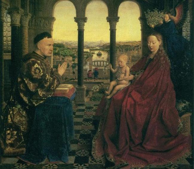 Virgin with chancellor Rolin Luber (Đức Mẹ và Thánh Rolin Luber) - Van Eyck